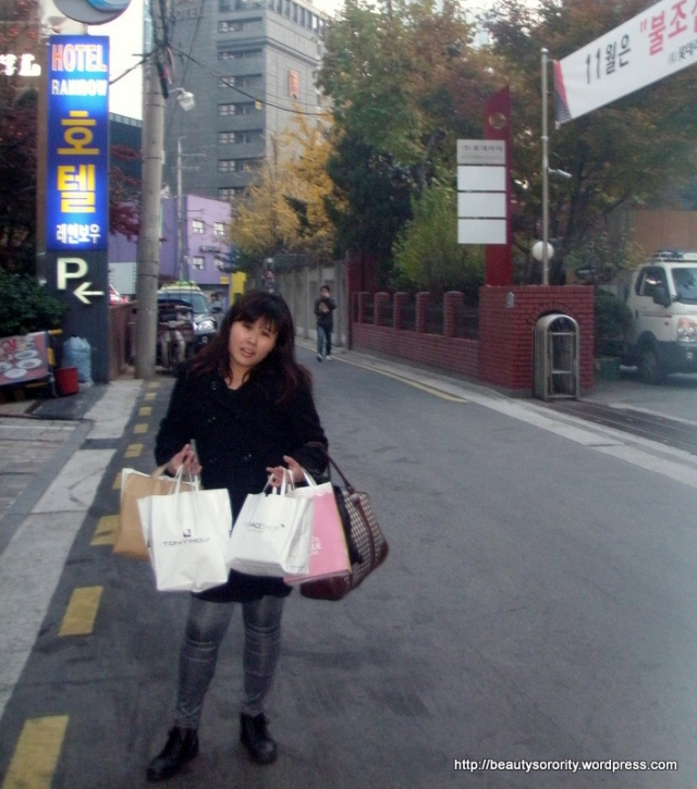 Tired from shopping at Myeongdong.