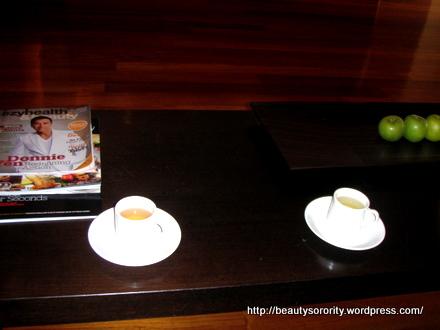 herbal tea before spa