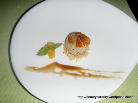 scallop appetiser, spa botanica