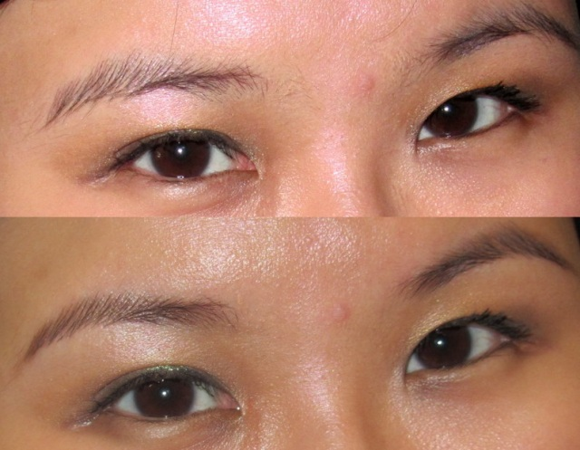 brows trimmed at Bobbi Brown - before and after