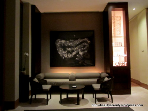 reception area of auriga spa, singapore