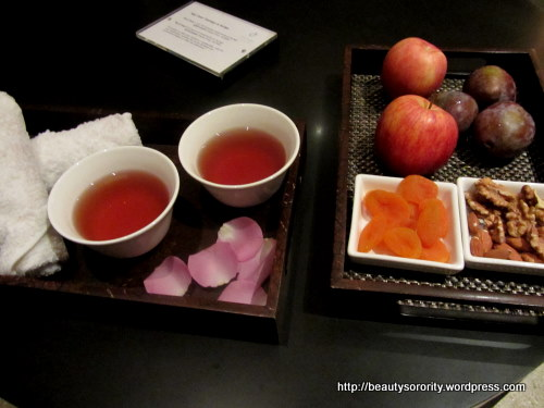 tea and snacks at auriga spa, singapore