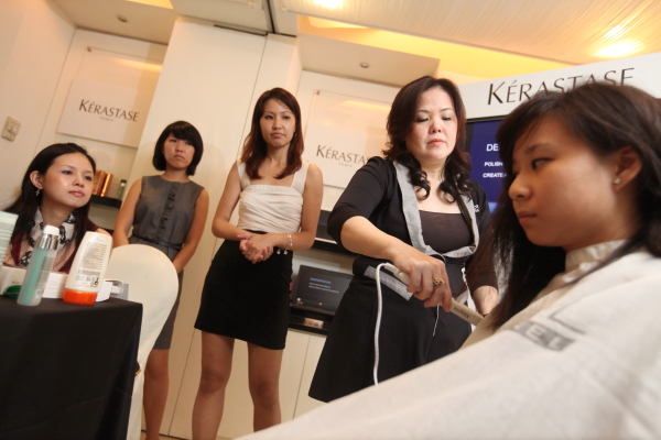 june from j's salon doing demonstration