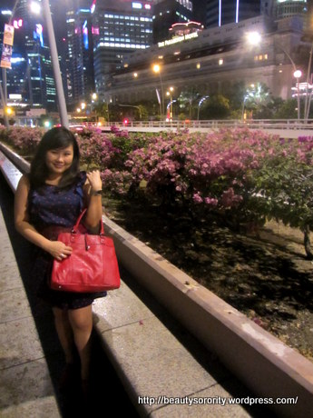 fullerton hotel, beauty sorority holding dally satchel from tocco tenero