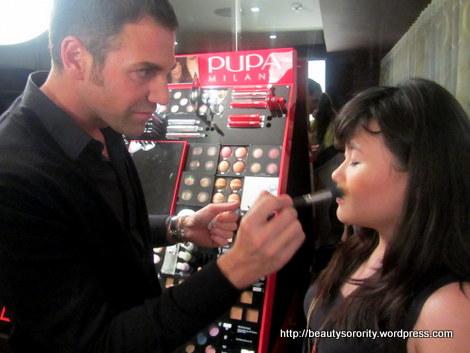 Giorgio Forgani demonstrating with Pupa makeup