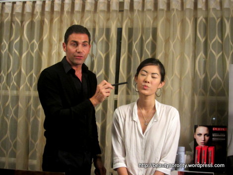 Giorgio Forgani demonstrating with Pupa makeup on Valerie