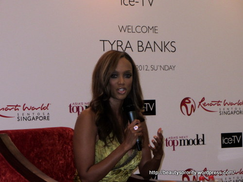 tyra banks at press conference in singapore, resorts world singapore