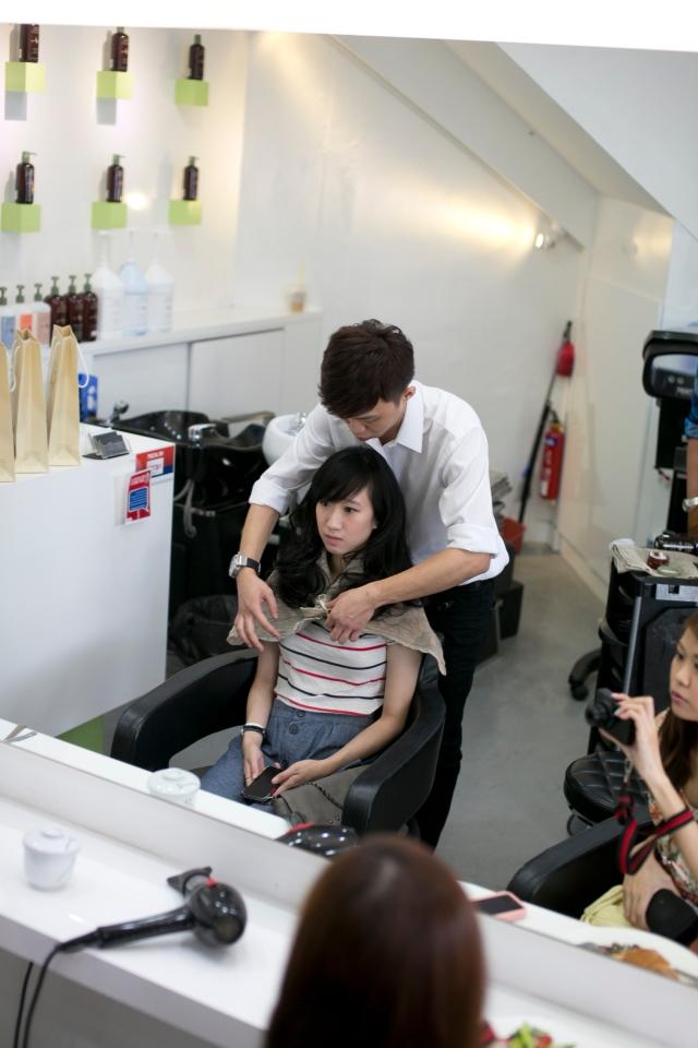 charlene as model for hair demonstration