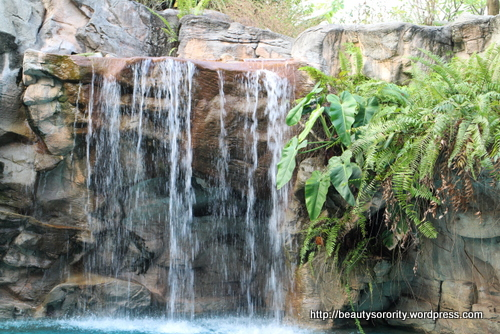 floating pool with cascading waterfall at spa botanica, sentosa