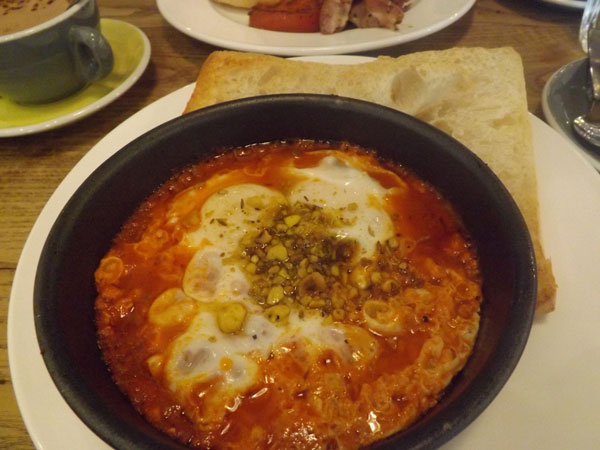 strangers' reunion - Baked Eggs in Shakshuka with Salami, Goat's Cheese, Dukkah & Toast
