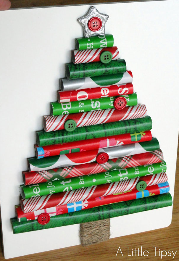 diy wrapping paper christmas tree
