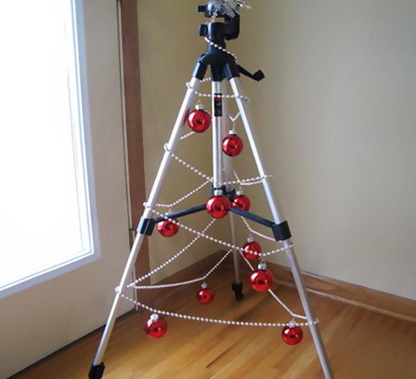 diy tripod christmas tree